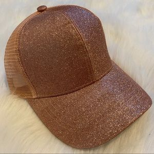 Rose Gold Glitter C.C Brand Pony Cap Hat